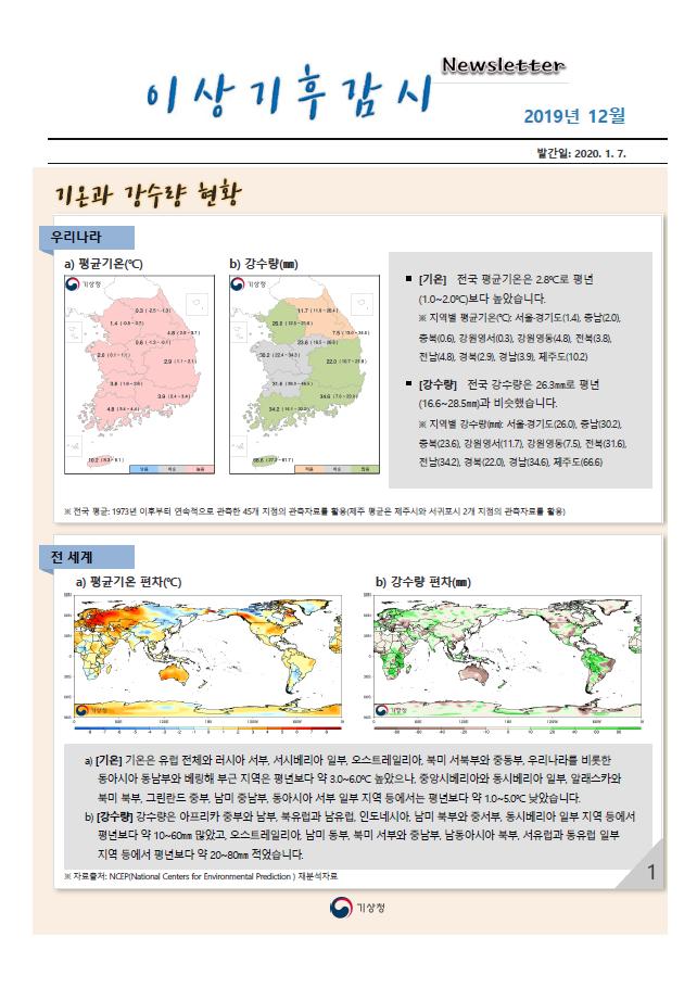 월간 기후분석정보 2019년 12월호