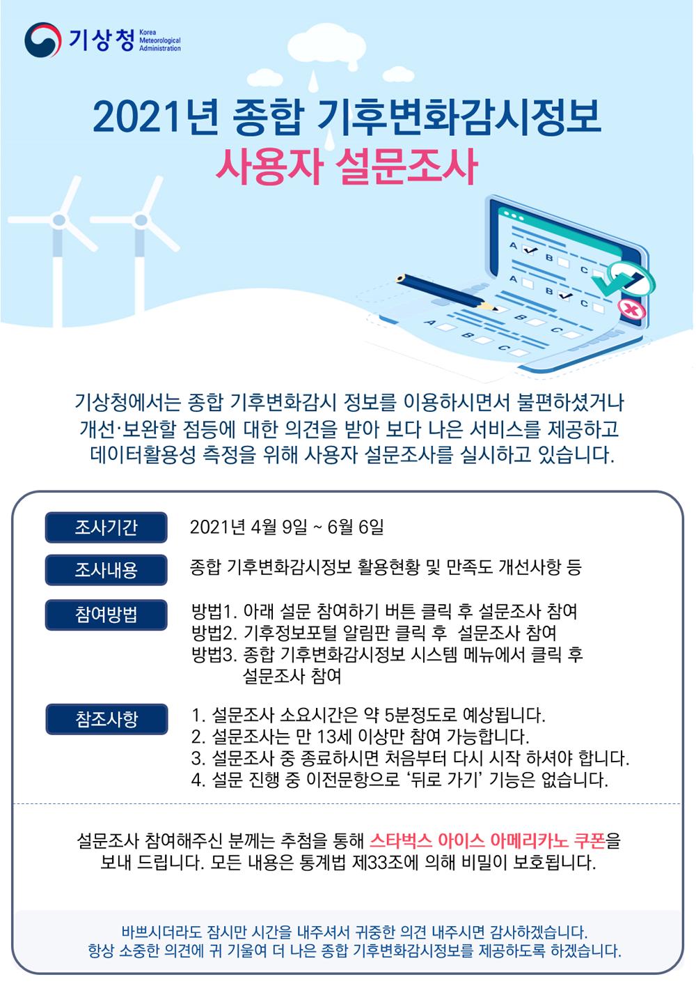 2021년 종합 기후변화감시정보 사용자 설문조사
