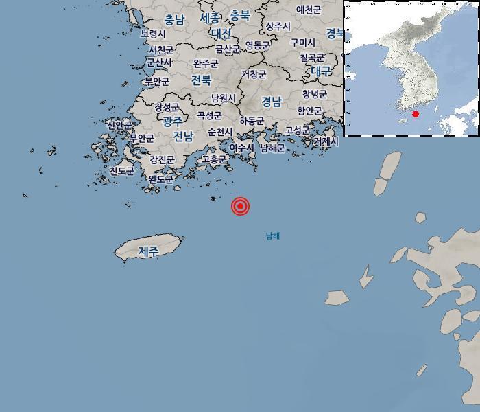 [지진정보] 전남 여수시 거문도 동남동쪽 30km 해역 / 2019. 01. 17(木) 21:37:00