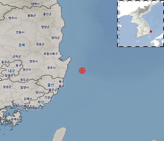 [지진정보] 경북 포항시 남구 동남동쪽 43km 해역 / 2021年 06月 14日(月) 22:45:00