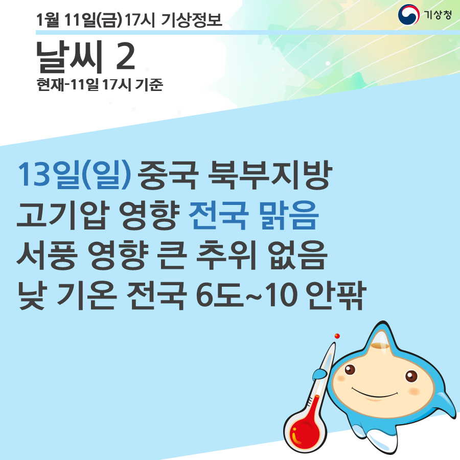 13일(일) 중국 북부지방 고기압 영향 전국 맑음 서풍 영향 큰 추위 없음 낮 기온 전국 6도~10 안팎